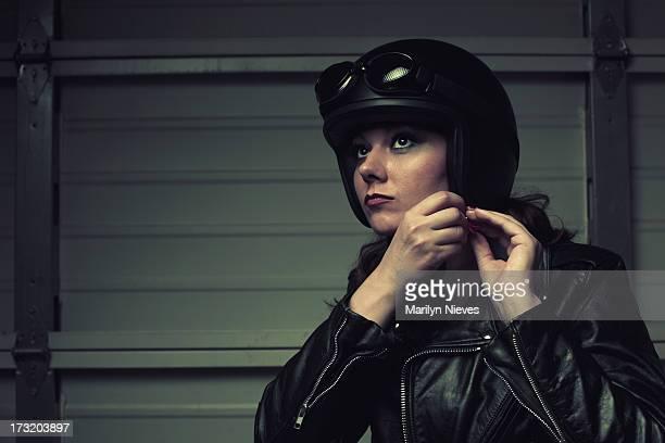 Motociclista preparar-se