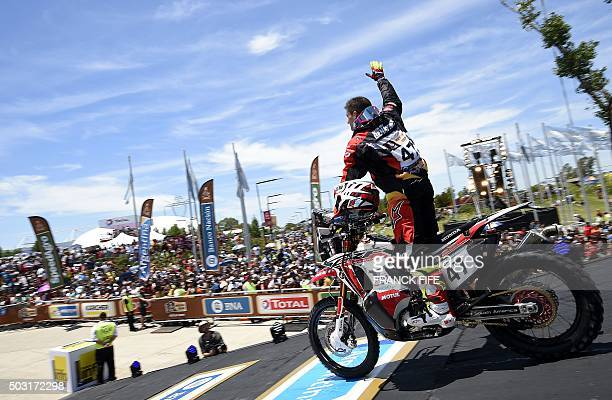Biker Kevin Benavides of Argentina greets the fans before a prologue of the Dakar 2016 between Buenos Aires and Rosario in Rosario Argentina on...