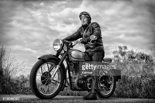 biker on vintage motorcycle