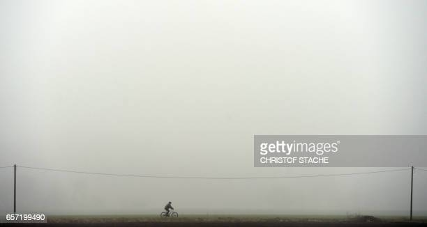 A biker passes a country road during a foggy weather morning with temperatures by 6 degrees near the small village Groebenzell near Munich southern...