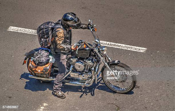Biker with her bike