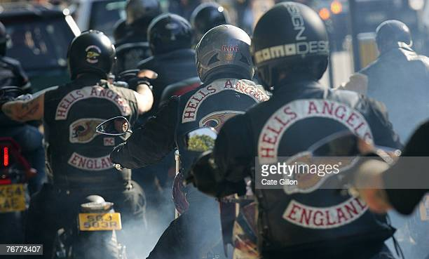 Bikers after the funeral for Gerard Tobin outside Mortlake cemetary on September 15 2007 in London England Approximately 3000 bikers processed across...