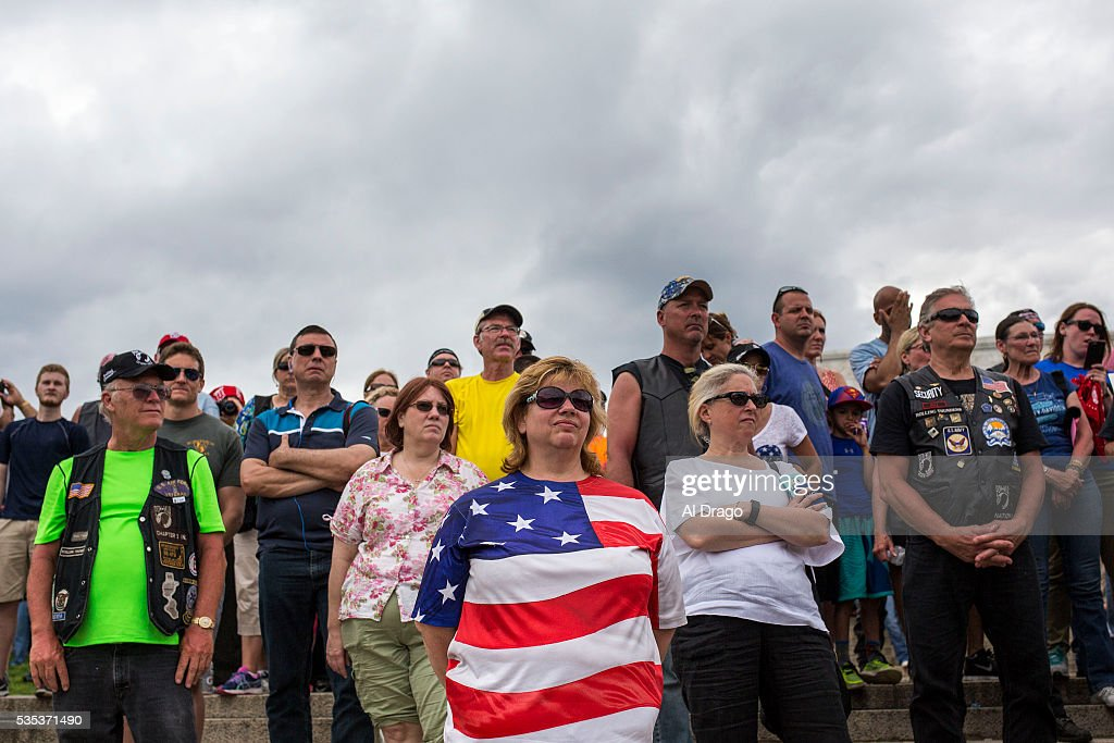 STATES - MAY 29 - Bikers and supporters listen as Republican presidential candidate Donald Trump speaks on the National Mall during the Rolling Thunder Inc. XXIX 'Freedom Ride,' on Sunday, May 29, 2016 in Washington. The annual bike ride which occurs over Memorial Day weekend, honors U.S. prisoners of war and missing-in-action troops, as well as raises awareness about veterans issues.