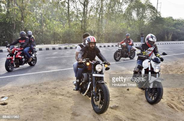 Bikers at a Throttle Shrottle Rider's Cafe in Gurgaon Faridabad Road on May 14 2017 in Gurgaon India GurgaonFaridabad Expressway is one of most...