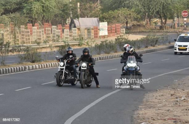 Bikers on Gurgaon Faridabad Road on May 14 2017 in Gurgaon India GurgaonFaridabad Expressway is one of most popular Biking Trails amongst cyclists...