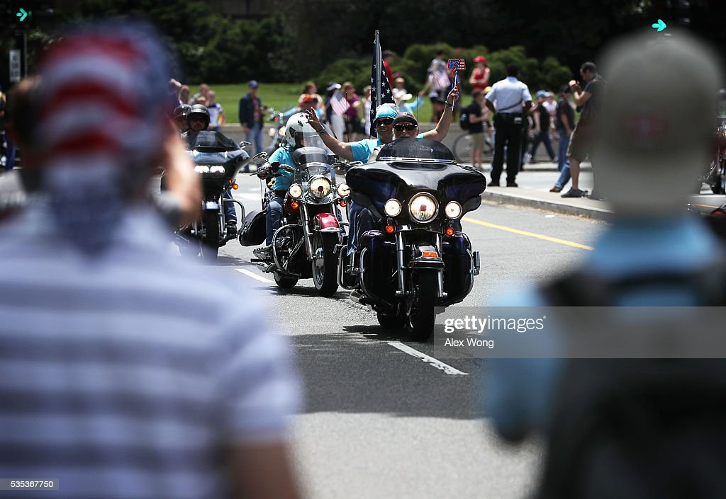 Bikers participate in the annual Rolling Thunder First Amendment Demonstration Run May 29, 2016 in Washington, DC. Bikers are gathering in the annual parade in the nation's capital to remember those who were prisoners of war and missing in action on Memorial Day weekend.