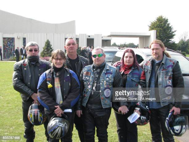 Bikers pay their respects at the funeral of Corporal Dean John in Margam Crematorium Port Talbot South Wales