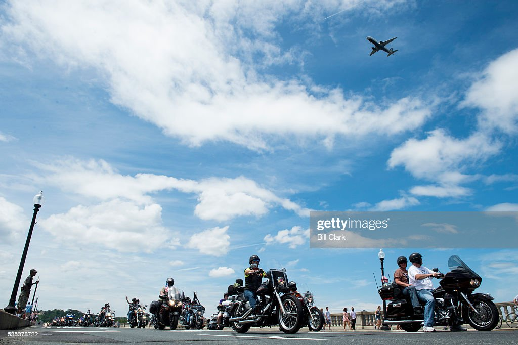 Bikers riding in the annual Rolling Thunder pass over the Memorial Bridge towards the Lincoln Memorial during the annual Memorial Day Rolling Thunder ride in Washington on Sunday, May 29, 2016.