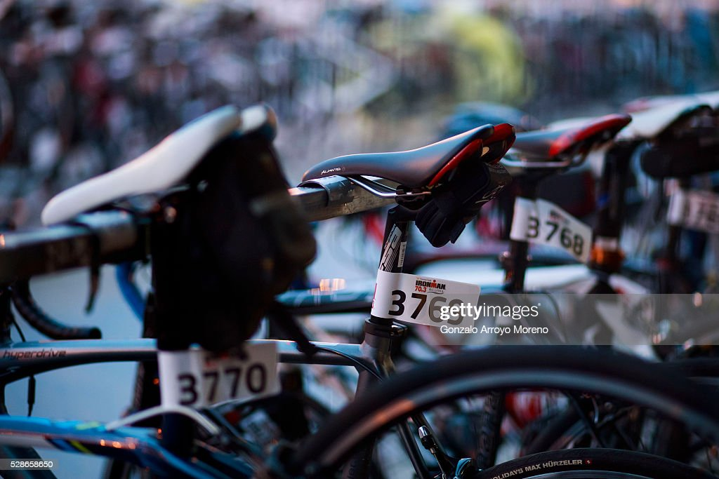 Bikes are displayed at the transition area the day before Ironman 70.3 Mallorca on May 6, 2016 in Alcudia, at Palma de Mallorca island, Spain.