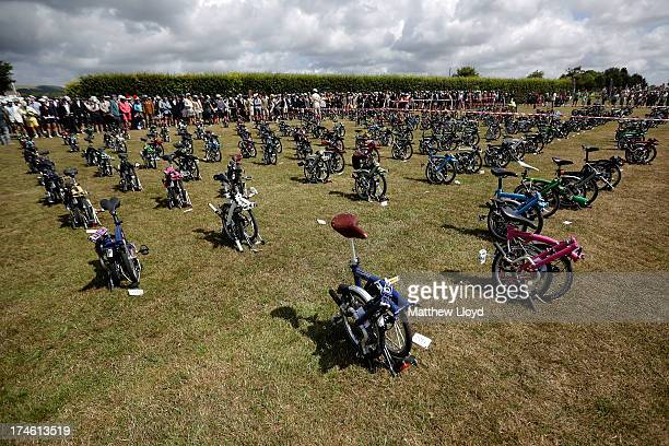 Bikes are lined up as a horn signals the start of the Brompton World Championship folding bike race which is part of the Orbital cycling festival at...