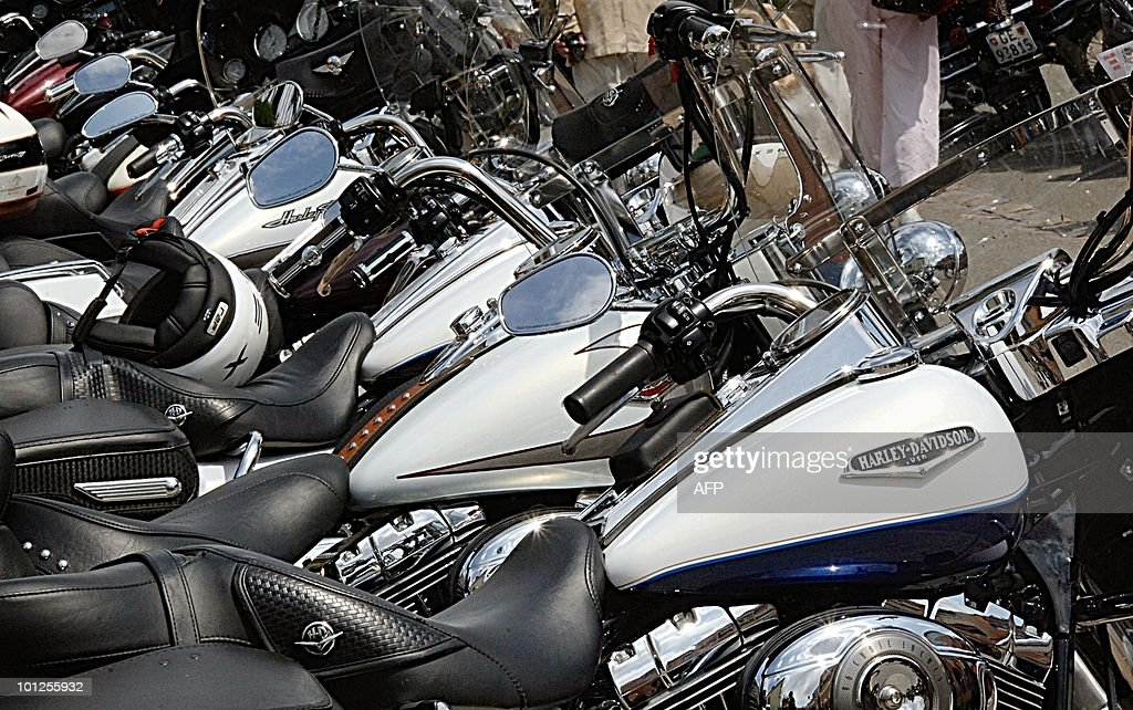 Bikes are parked after a parade during the 4th Euro Festival Harley-Davidson in Grimaud, near Saint-Tropez, southeastern France, which gather thousands of US legendary bikes on May 8, 2010. The event is scheduled from May 6 to 9.