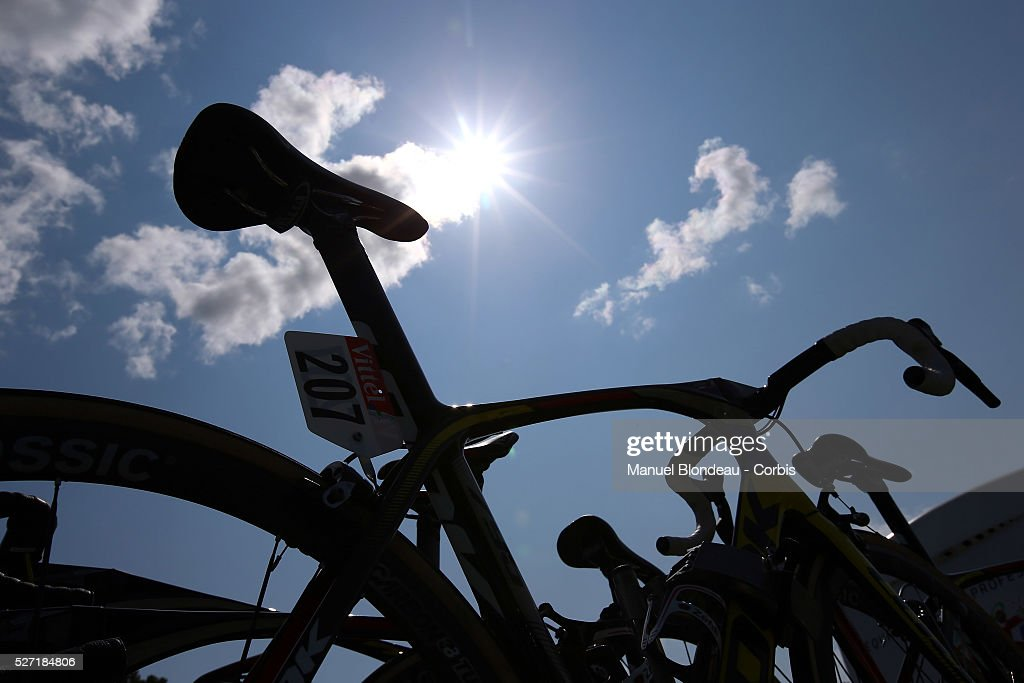 Bikes are pictured under the sun prior to the start during the 2015 Tour of France, Stage 6, Abbeville - Le Havre, on July 9, 2015. The 102nd edition of the Tour de France cycling race gets underway on July 4 in the streets of Utrecht and ends on July 26, 2015 down the Champs-Elysees in Paris. Photo Manuel Blondeau/AOP Press/Corbis