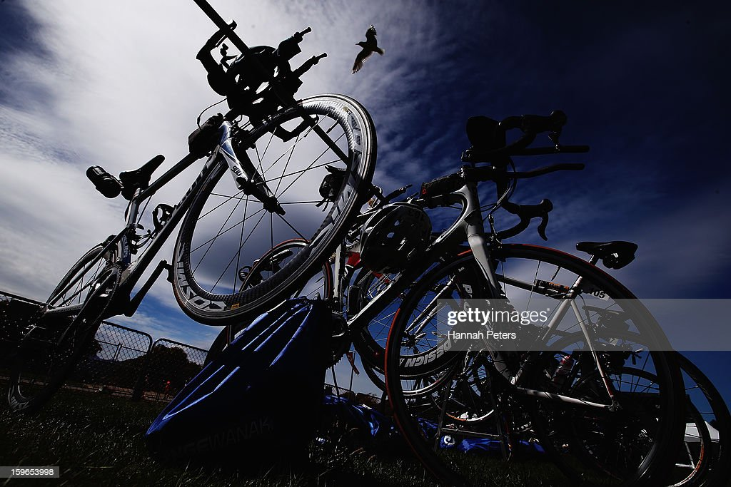 Bikes are stacked prior to the Challenge Wanaka on January 18, 2013 in Wanaka, New Zealand.