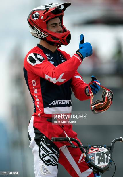 Bikes' Elite racer Bodie Turner gives the thumbs up before at the USA BMX Mile High Nationals on August 5 at Grand Valley BMX in Grand Junction CO...