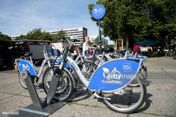 Bikes for rent of the company Nextbike are pictured in the district of Lichtenberg in Berlin Germany on June 15 2017