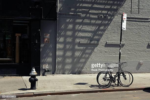 Bikes in a New York City sidewalk
