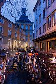 Bikes on the street in Bonn. Bonn, North Rhine-Westphalia, Germany.