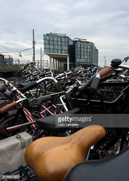 Bikes parked at Amsterdam Central Station