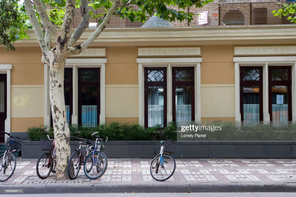 Bikes parked on French Concession streets. : Stock Photo