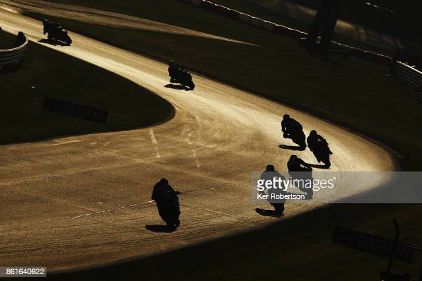 Bikes ride along the Cooper Straight in the final race of the British Superbike Championship at Brands Hatch on October 15 2017 in Longfield England