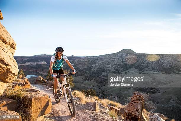 Biking a scenic trail.