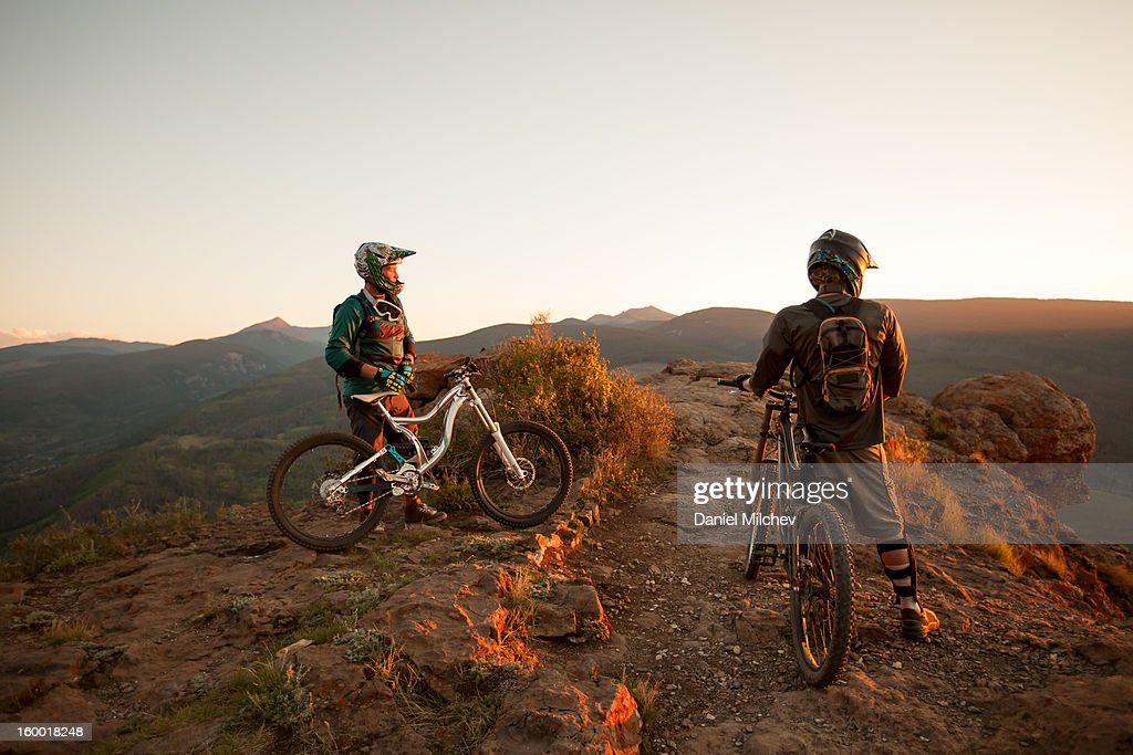 Biking breat at a scenic spot. : Stock Photo