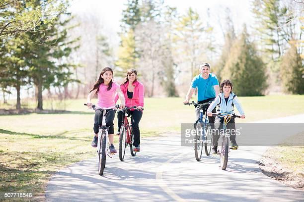 Biking Happily Through the Park