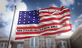 Bikini Atoll  Flag 3D Rendering on Blue Sky Building Background