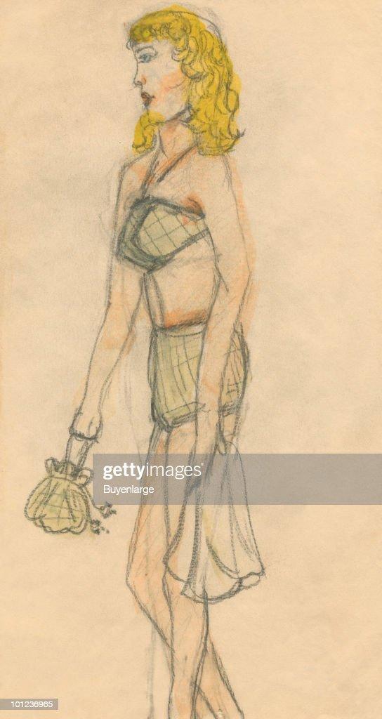 A bikini clad woman carries a towel and purse.
