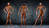 Bikini Fitness Competitor Shows three basic Competition Poses