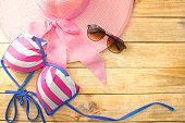 bikini - glasses - hat - on wood, colorful summer season