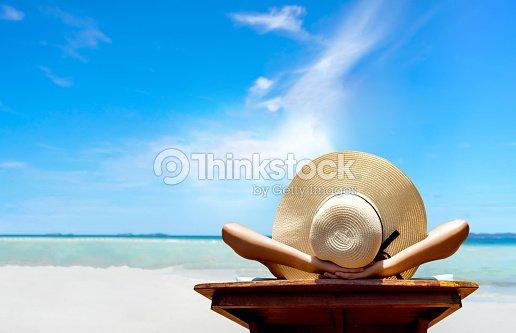Sexy Im Bikini Frau Entspannen Sie Strand Und Ruhe Resort