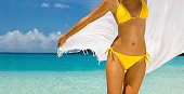 panorama of a unrecognizable woman in orange bikini dancing with a white sarong at a beach in the Caribbeanview images from the same series: