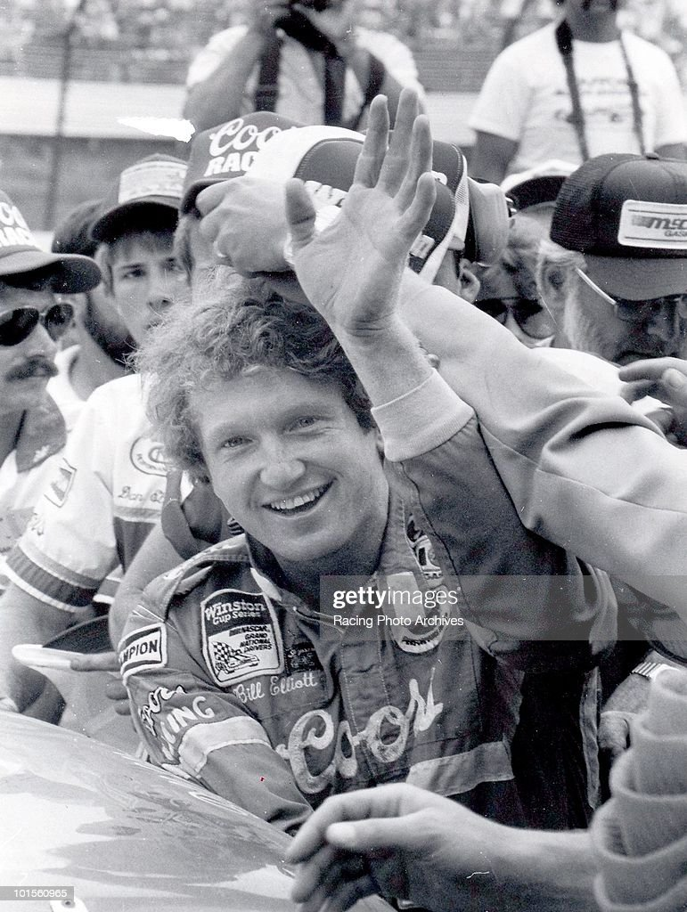 Bil Elliott climbs out of his car and into Victory Lane. Elliott would win the Summer 500 and take home $41,750 for the race.