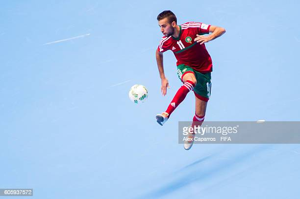 Bilal Bakkali of Morocco controls the ball during the FIFA Futsal World Cup Group F match between Iran and Morocco at Coliseo Ivan de Bedout stadium...