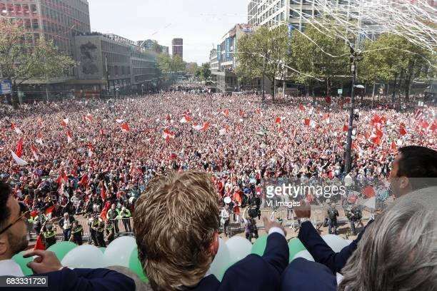 Bilal Basacikoglu of Feyenoord Dirk Kuyt of Feyenoord coach Giovanni van Bronckhorst with the fans of Feyenoordduring Feyenoord Rotterdam honored...