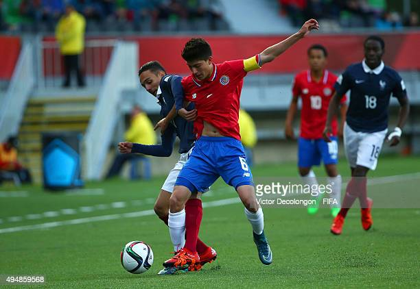 Bilal Boutobba of France and Luis Hernandez of Costa Rica vie for the ball during the France v Costa Rica Round of 16 FIFA U17 World Cup Chile 2015...