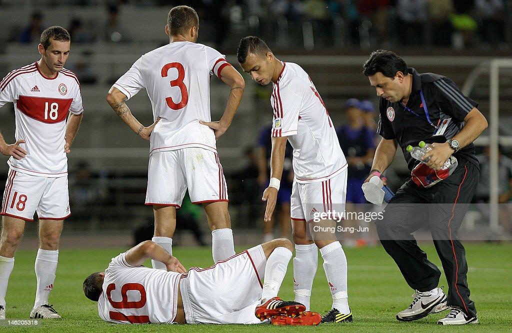 Bilal Najjarin of Lebanon injured during the FIFA World Cup Asian Qualifier match between South Korea and Lebanon at Goyang Stadium on June 12, 2012 in Goyang, South Korea.
