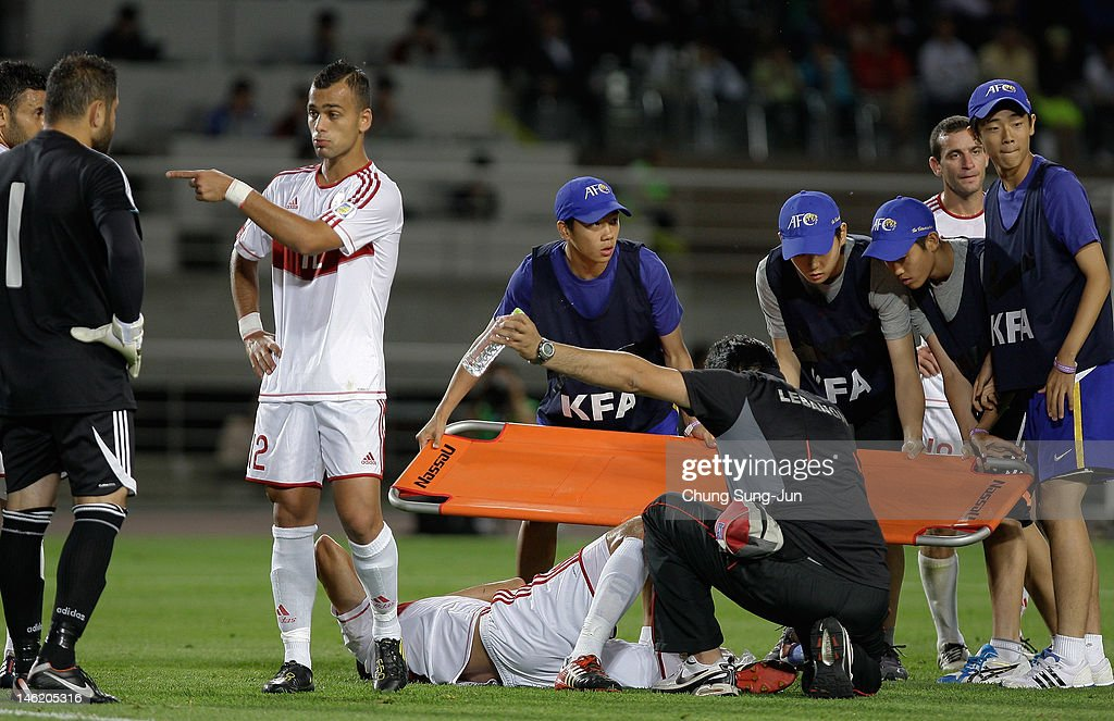 Bilal Najjarin of Lebanon lies injured on the pitch during the FIFA World Cup Asian Qualifier match between South Korea and Lebanon at Goyang Stadium on June 12, 2012 in Goyang, South Korea.