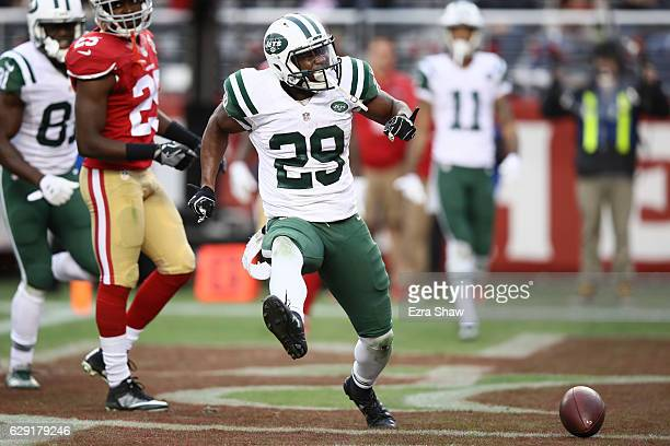 Bilal Powell of the New York Jets celebrates after a fiveyard touchdown run against the San Francisco 49ers during their NFL game at Levi's Stadium...