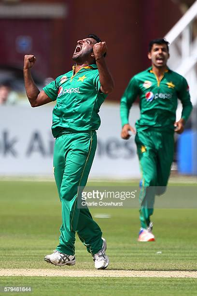 Bilawal Bhatti of Pakistan celebrates after taking the wicket of Ben Duckett of England during the Triangular Series match between England Lions and...