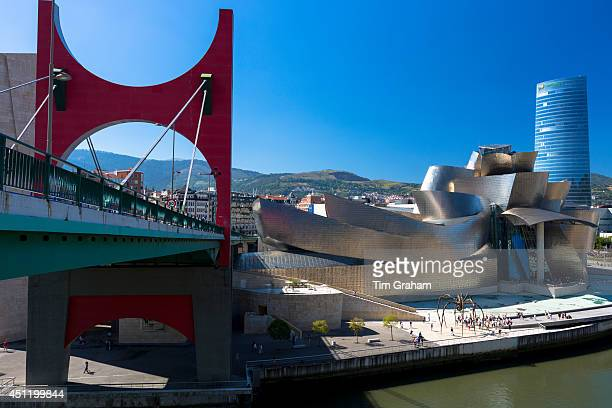 Bilbao Guggenheim Museum Iberdrola Tower skyscraper and Red Bridge in Basque country Spain