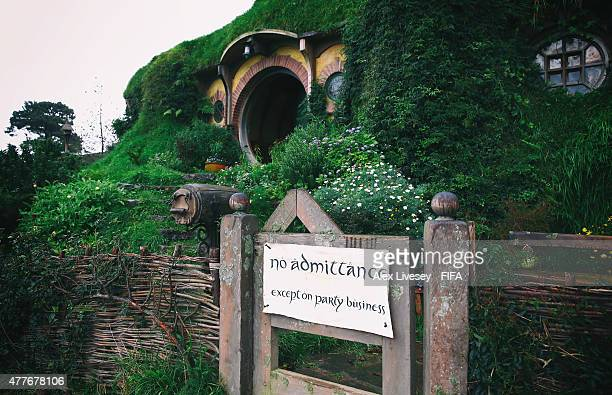 Bilbo Baggins house is seen at the Hobbiton Movie Set where Lord of the Rings and The Hobbit trilogies were filmed during the FIFA U20 World Cup on...