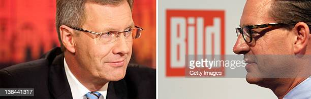 This combination of pictures shows file pictures of German President Christian Wulff and Bild newspaper's editorinchief Kai Diekmann Wulff has come...