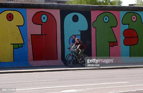 Bilder von Thierry Noir an EastSideGallery in der Mühlenstrasse BerlinFriedrichshain