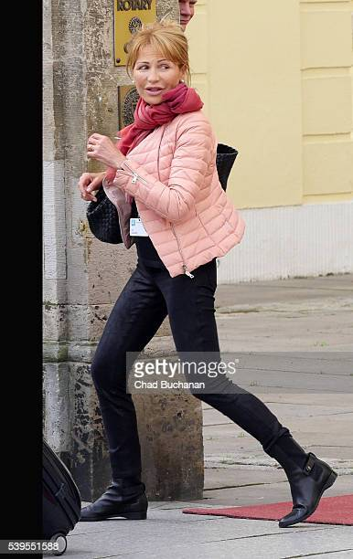 Bilderberg conference participants Lilli Gruber sighted departing outside Hotel Taschenbergpalais on June 12 2016 in Dresden Germany Dresden is...