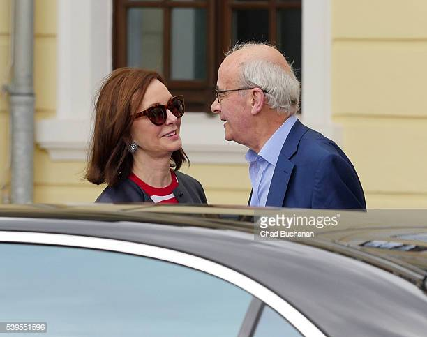 Bilderberg conference participants MarieJosee Kravis and John Kerr sighted departing outside Hotel Taschenbergpalais on June 12 2016 in Dresden...
