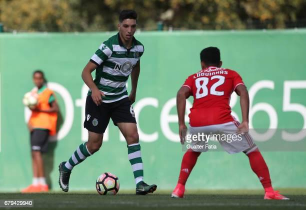 Bilel Aouacheria of Sporting CP B in action during the Segunda Liga match between Sporting CP B and SL Benfica B at CGD Stadium Aurelio Pereira on...