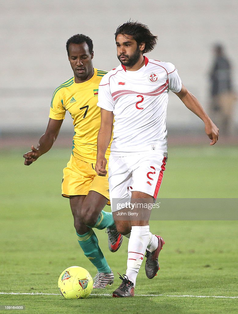 Bilel Ifa of Tunisia in action during the international friendly game between Tunisia and Ethiopia at the Al Wakrah Stadium on January 7, 2013 in Doha, Qatar.