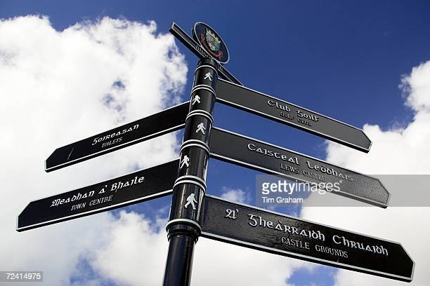 Bilingual road sign English and Scottish Gaelic directions Stornoway Outer Hebrides UK